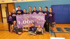 Kelsey Wyman and her team of Blissfield Royals celebrate her 1000th scored point in basketball. Photo courtesy  Blissfield High School athletics.