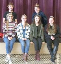 Front - Emma Essen, Rebecca Shields, Chelsey Eatmon, Elizabeth Hartke Back - Connor Friess, Caleb Schaffer