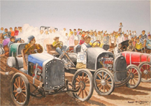 This is a photo of Bob Billington's painting of the Palmyra Hobo Race to be auctioned off Saturday at the Rotary Auction.